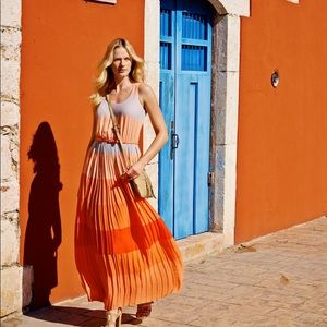 Stunning Coral Pleated Flowing Maxi Dress